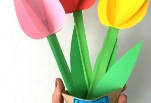 کاردستی گل لاله+کاردستی مدرسه