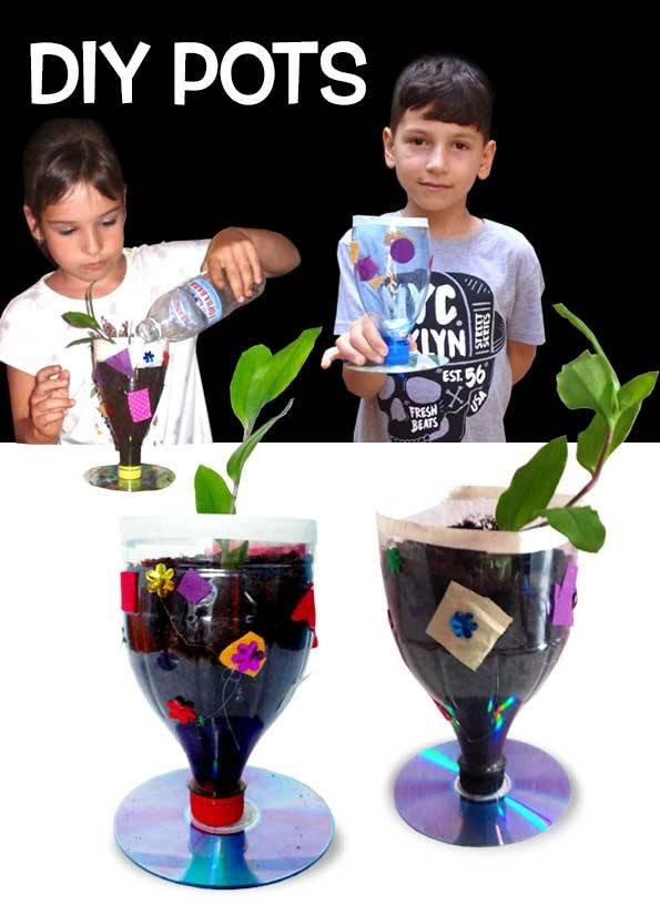کاردستی مدرسه+گلدان پلاستیکی