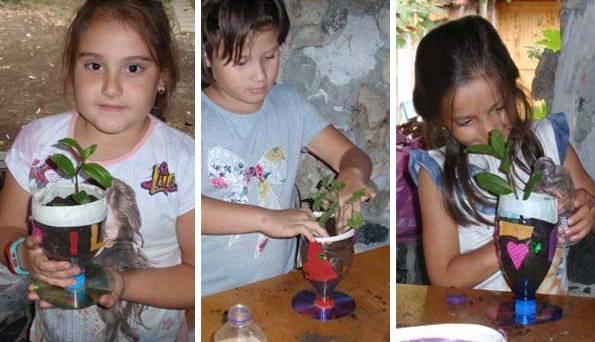 کاردستی مدرسه+ گلدان پلاستیکی