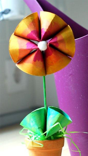 گلدان گل+ کاردستی بهاری