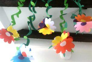 دسته گل آویز+ کاردستی بهاری